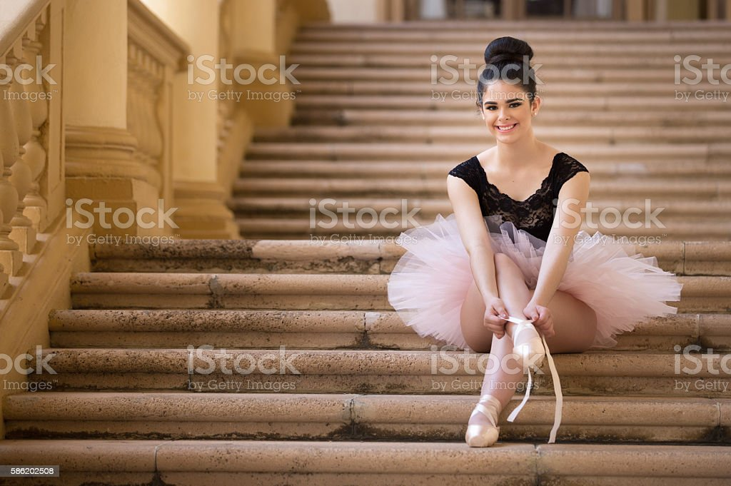 Getting ready for ballet class stock photo