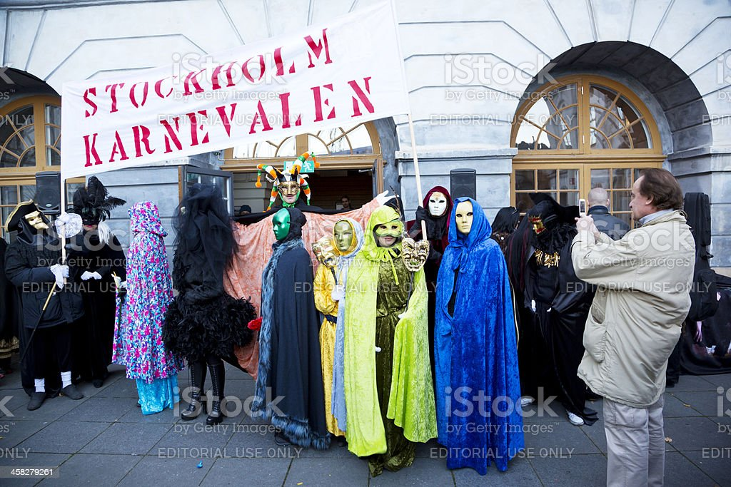 Getting ready for Halloween parade. stock photo