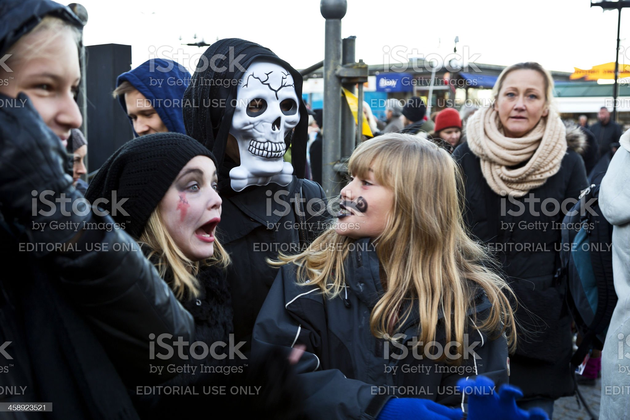 Getting ready for Halloween parade. royalty-free stock photo