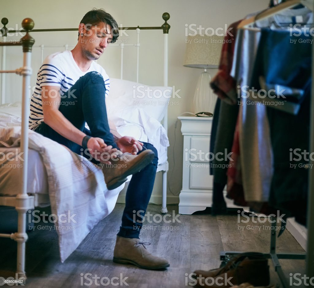 Getting ready for his day stock photo