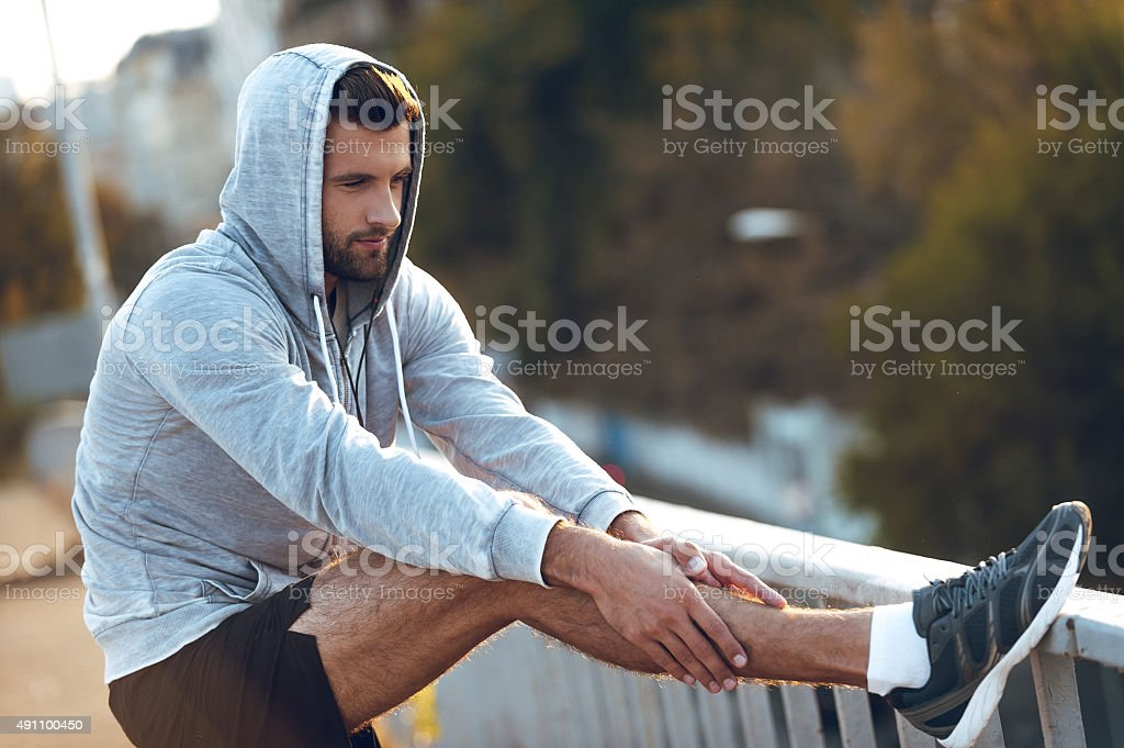 Getting ready for running. stock photo