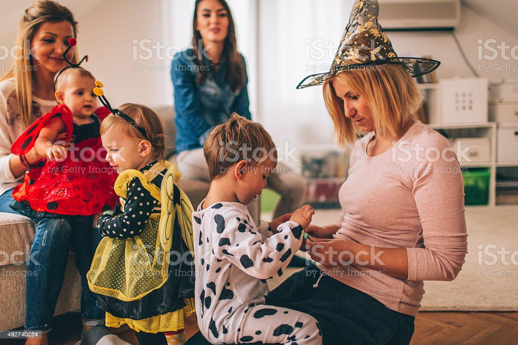 Getting ready for the Halloween stock photo