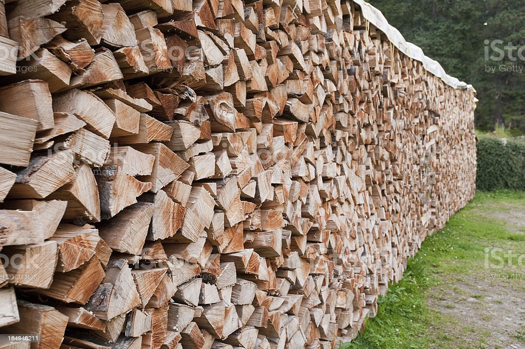 Getting Ready for the Winter, Stacked Firewood royalty-free stock photo