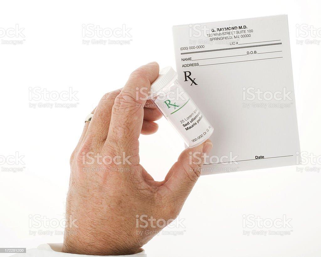 Getting ready to fill a prescription stock photo