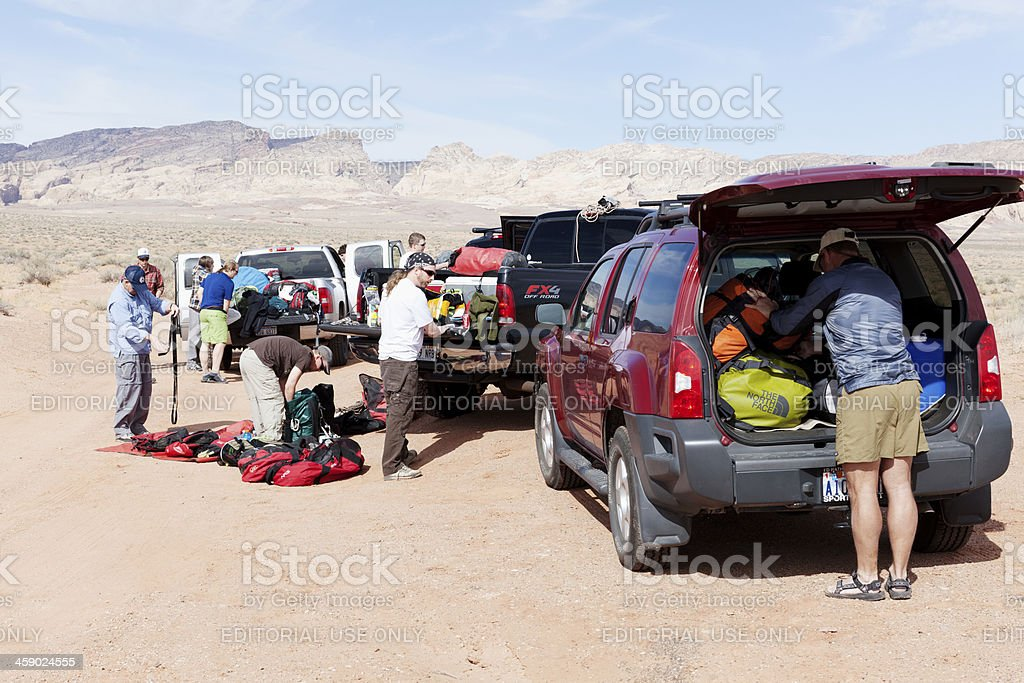 Getting ready to go canyoneering royalty-free stock photo