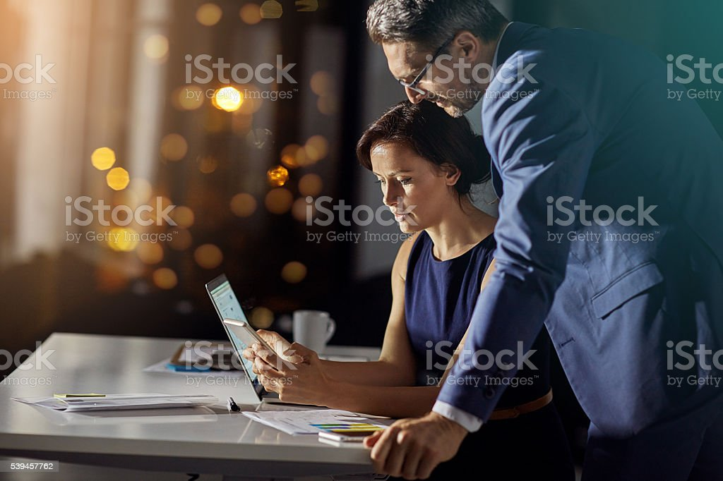 Getting ready to launch their new app in the morning stock photo