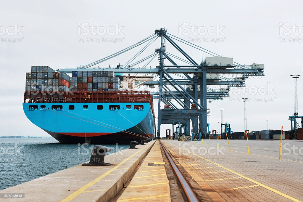 Getting ready to leave port stock photo