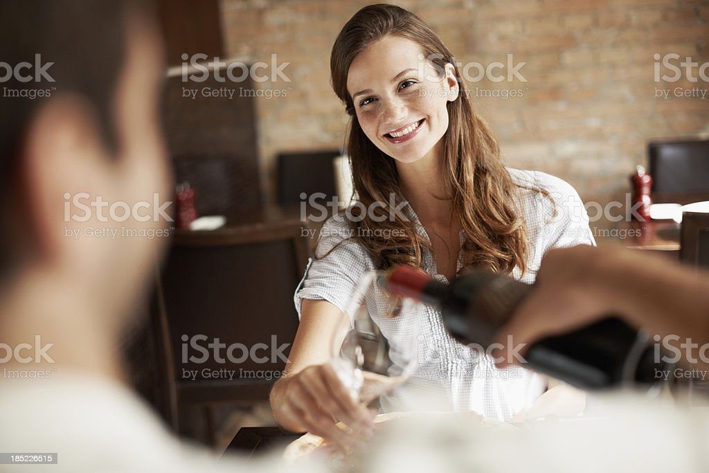 Getting ready to make a toast royalty-free stock photo