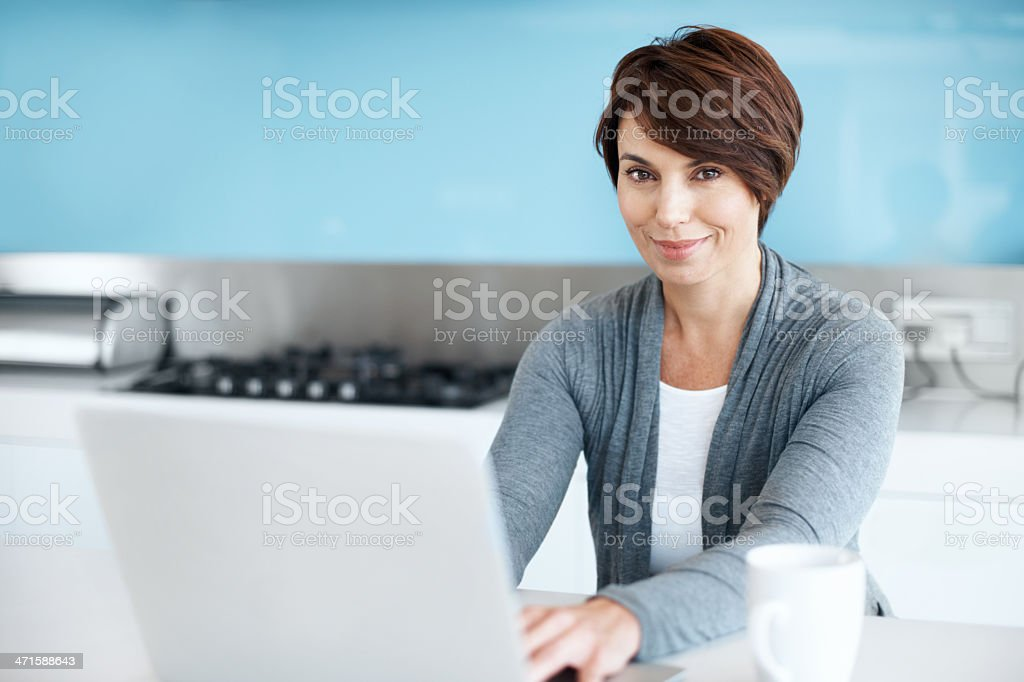 Getting recipes online royalty-free stock photo