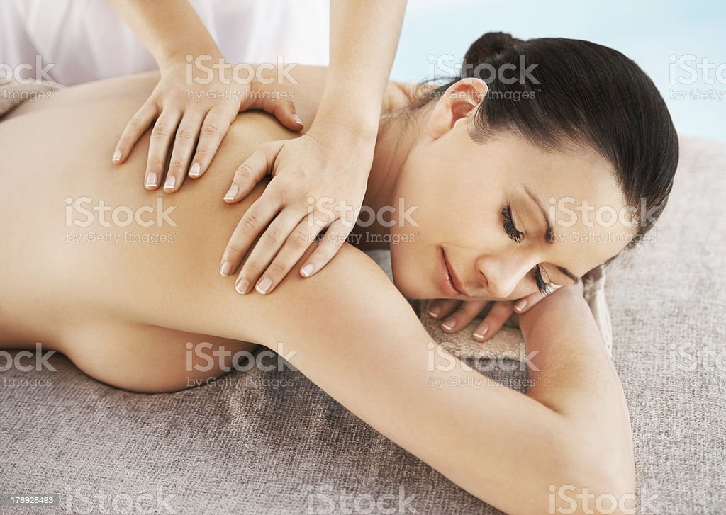 Getting rid of all her muscle tension royalty-free stock photo