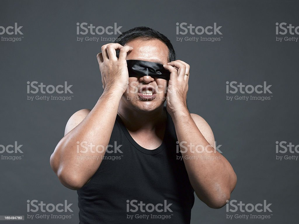 Getting rid of blindfold royalty-free stock photo