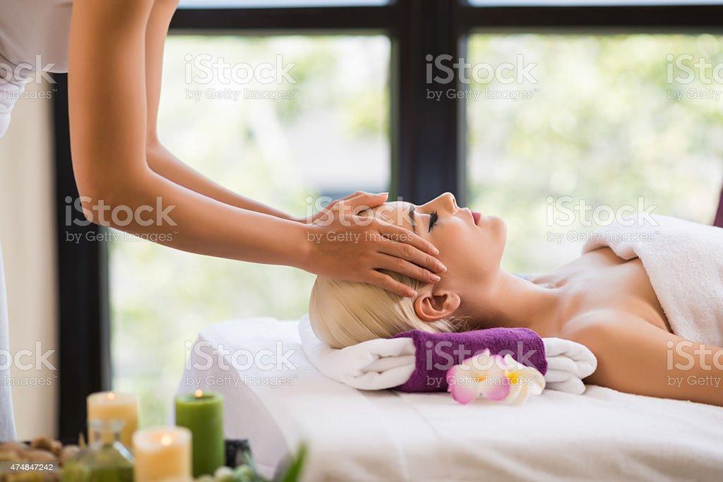 Getting scalp massage stock photo