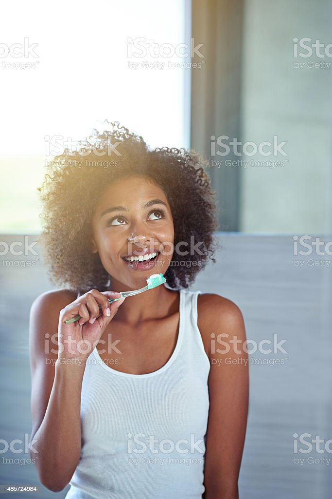 Getting some ideas while getting ready stock photo