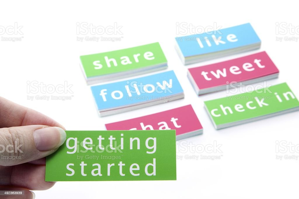 Getting Started and Social Media Buzzwords stock photo
