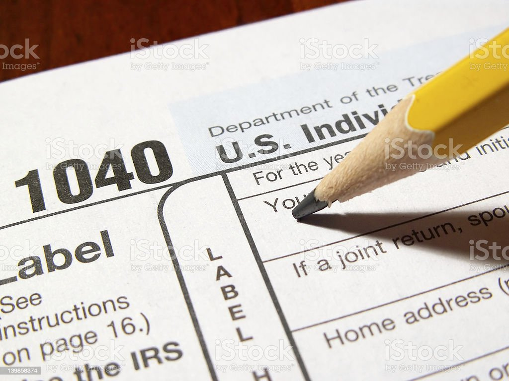 getting started on taxes stock photo