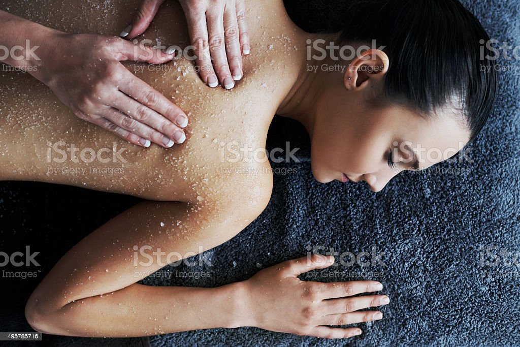 Getting the health of her skin back on track stock photo