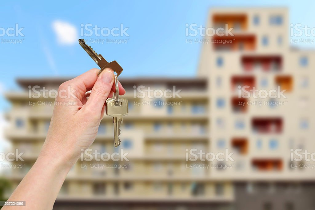Getting the new home keys stock photo