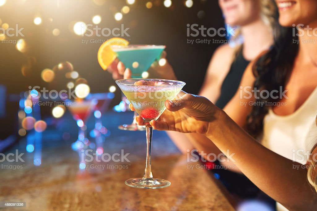 Getting the party started with some cocktails stock photo