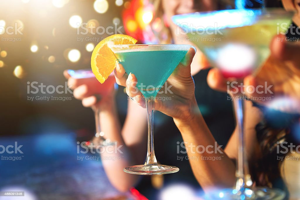 Getting the party started with some drinks stock photo