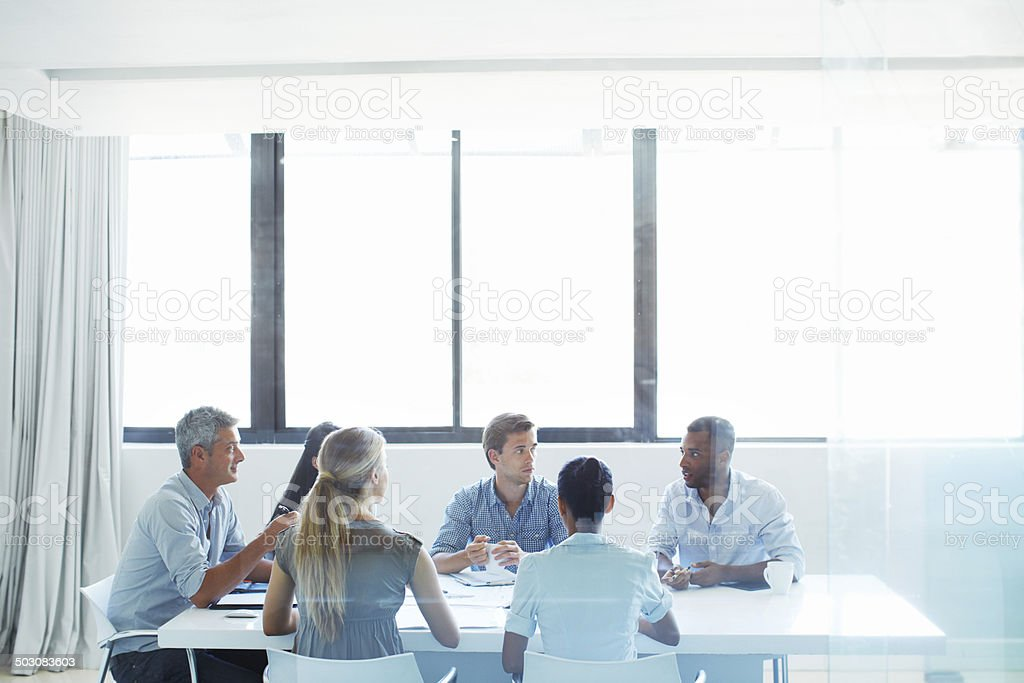 Getting their ideas across stock photo
