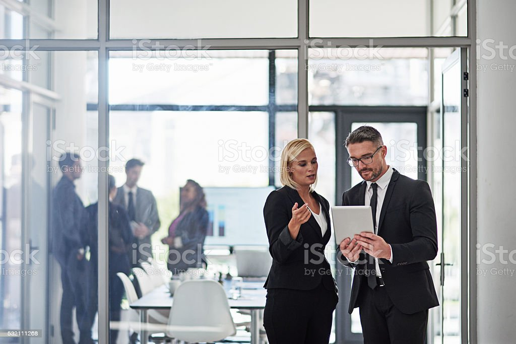Getting their presentation together stock photo