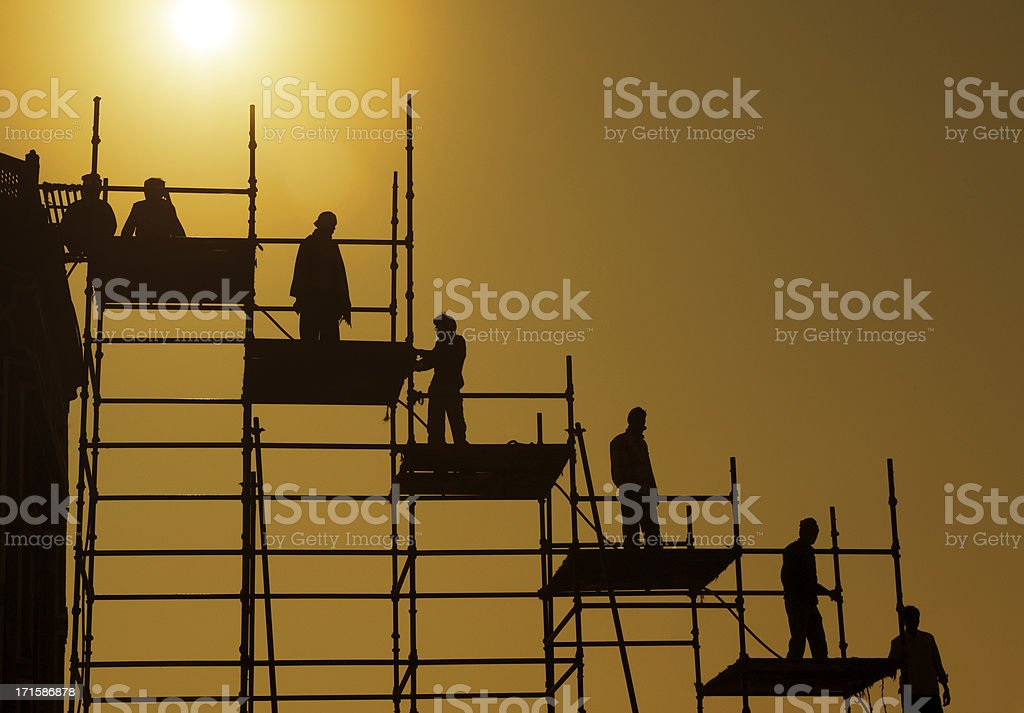Getting to the top with teamwork stock photo