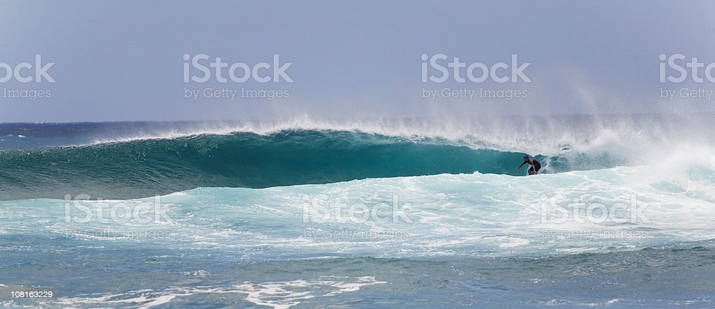 Getting Tubed At Sunset Beach (2nd of 2) royalty-free stock photo