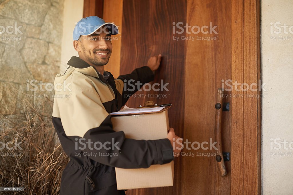 Getting your package delivered on time every time stock photo