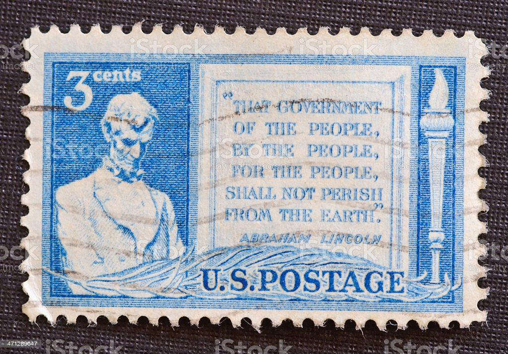 Gettysburg Address 3 cent postage stamp stock photo