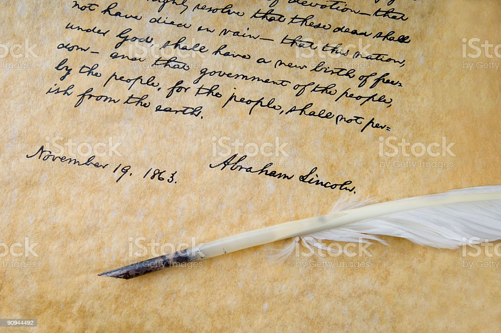 Gettysburg Address and Feather Quill stock photo