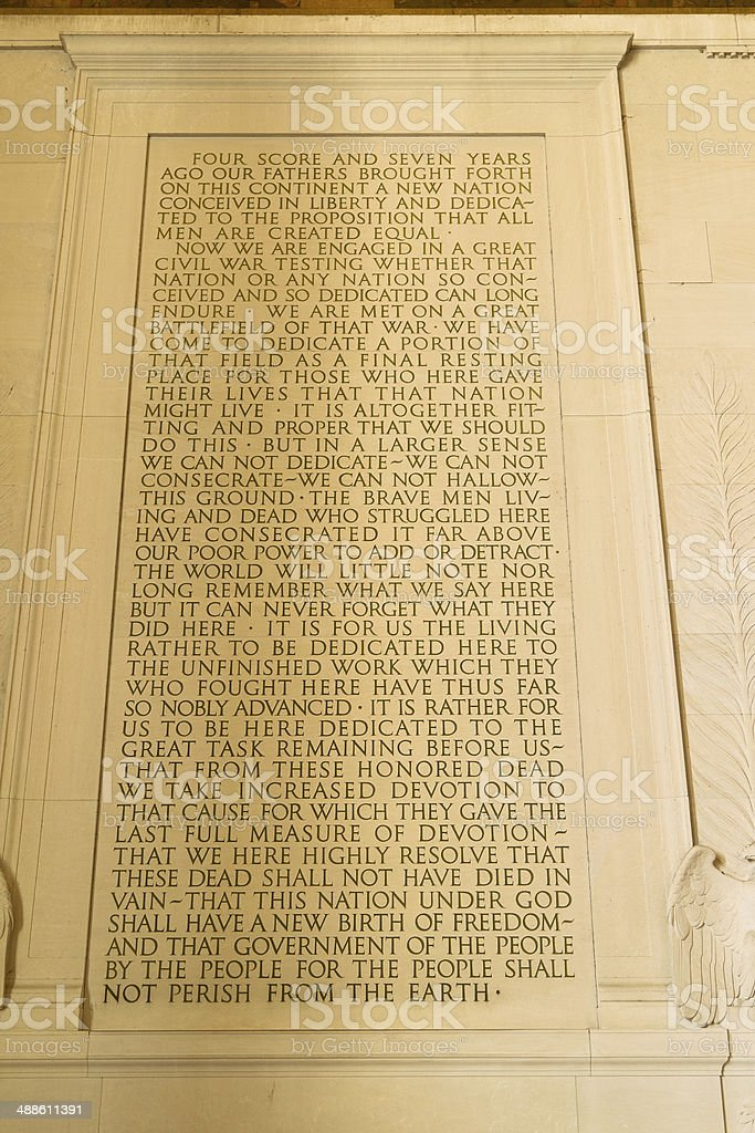 Gettysburg Address stock photo