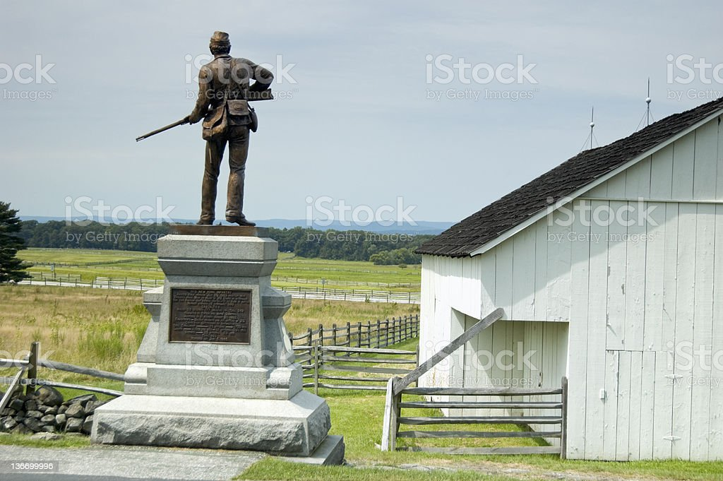Gettysburg Battlefield, Pickett's Charge Fields royalty-free stock photo