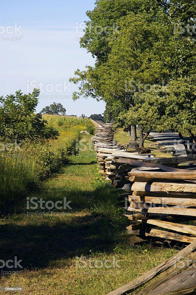 Gettysburg Battlefield Split-Rail Fence Line stock photo