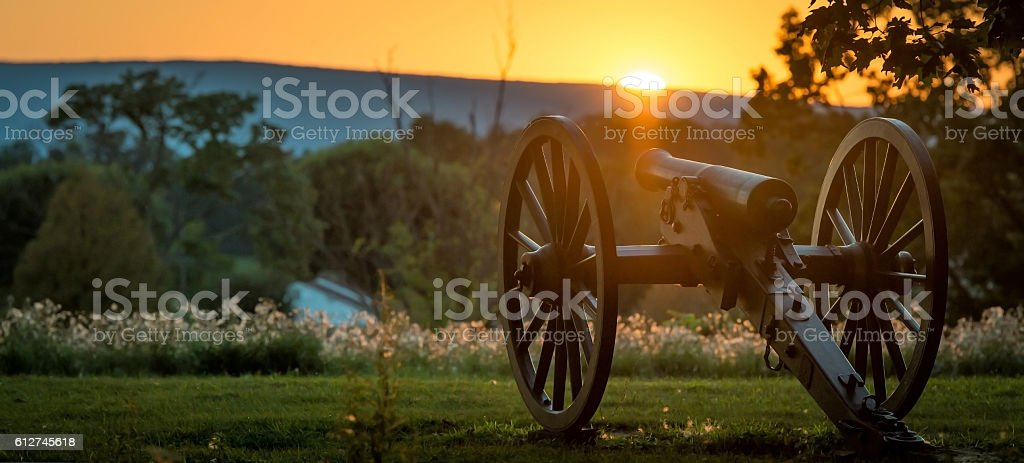 Gettysburg Cannon at Twilight stock photo