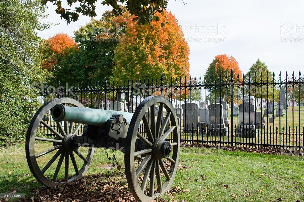 Gettysburg Cannon with Cemetery stock photo