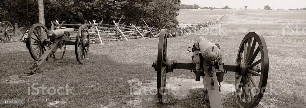 Gettysburg Civil War Cannons. stock photo