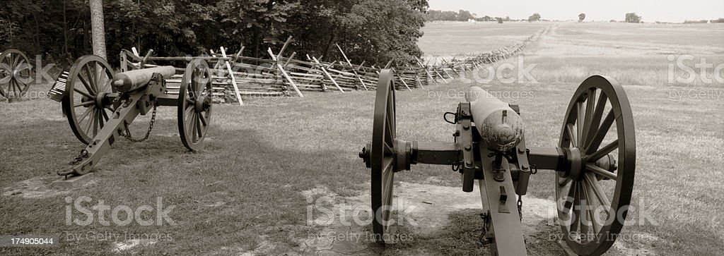 Gettysburg Civil War Cannons. stock photo
