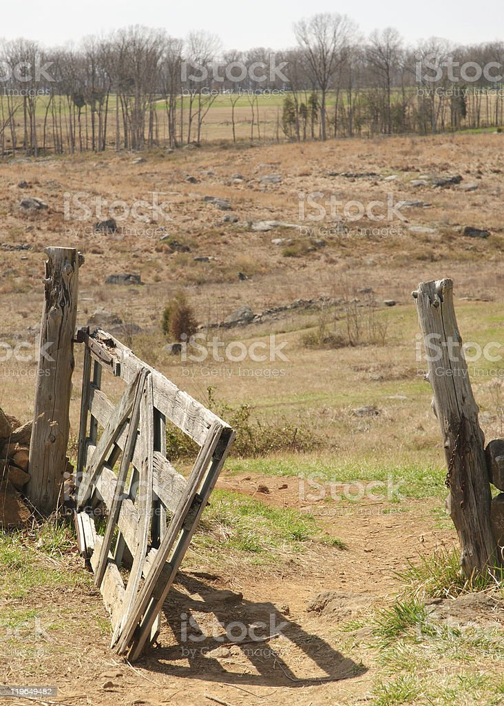 Gettysburg fence and landscape stock photo