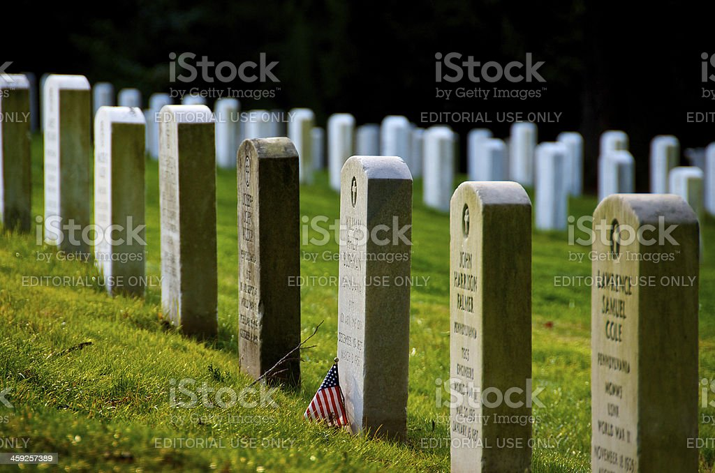Gettysburg National Cemetery Headstones & American Flag, Pennsylvania USA stock photo