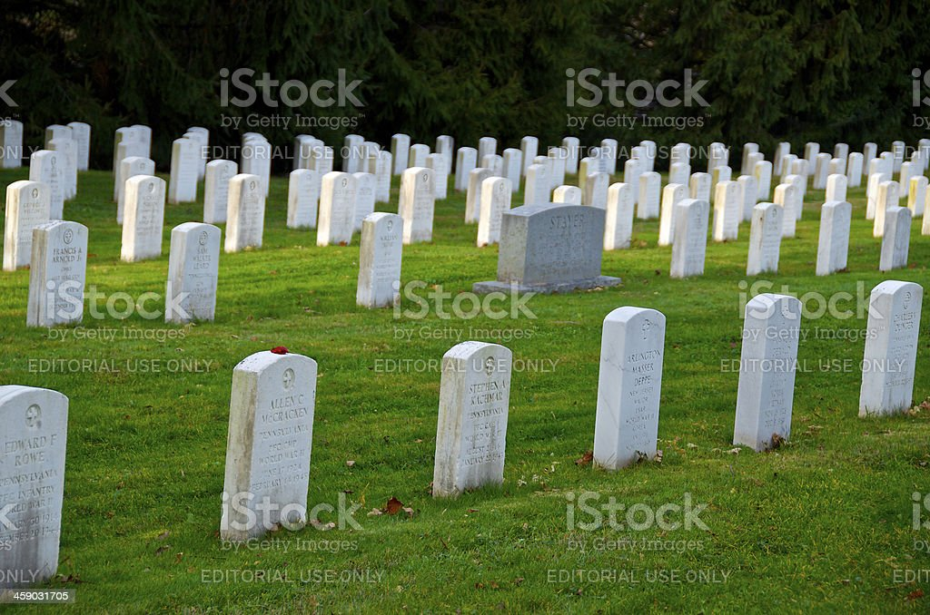 Gettysburg National Cemetery Headstones, Pennsylvania USA stock photo