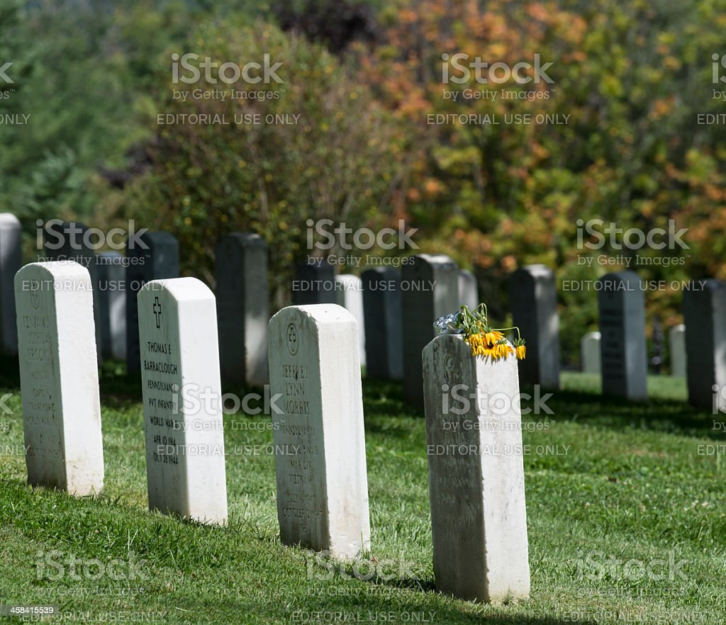 Gettysburg National Cemetery Headstones stock photo