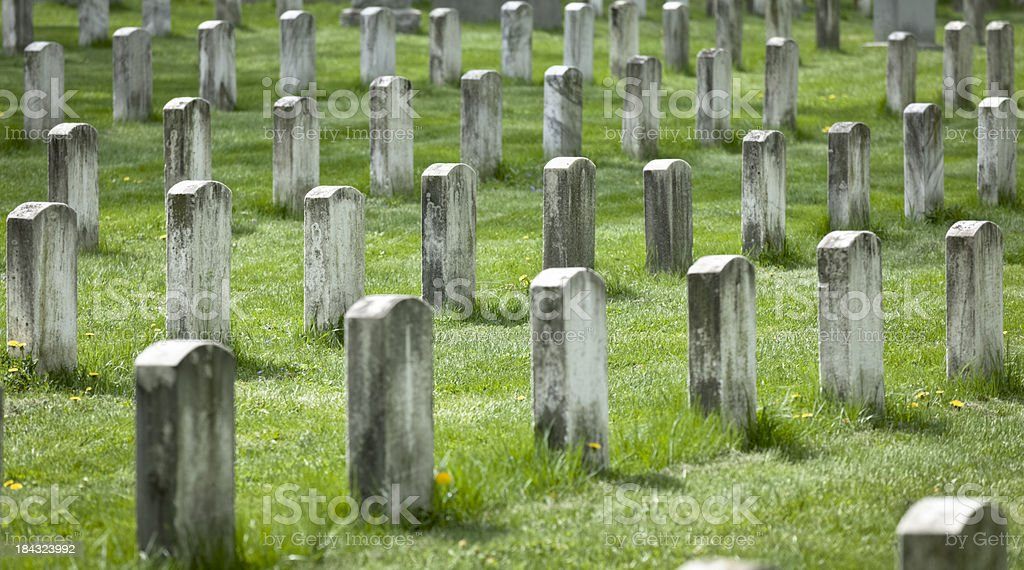 Gettysburg National Cemetery With Grave Markers Showing Their Age stock photo