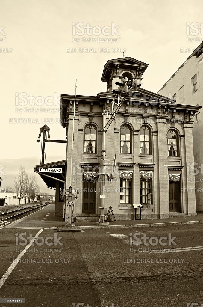 Gettysburg Railroad Station, Historic Building, Pennsylvania, USA stock photo