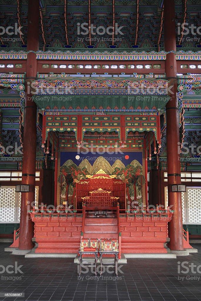 Geunjeongjeon (the main throne hall) of Gyeongbok in Seoul, Korea stock photo