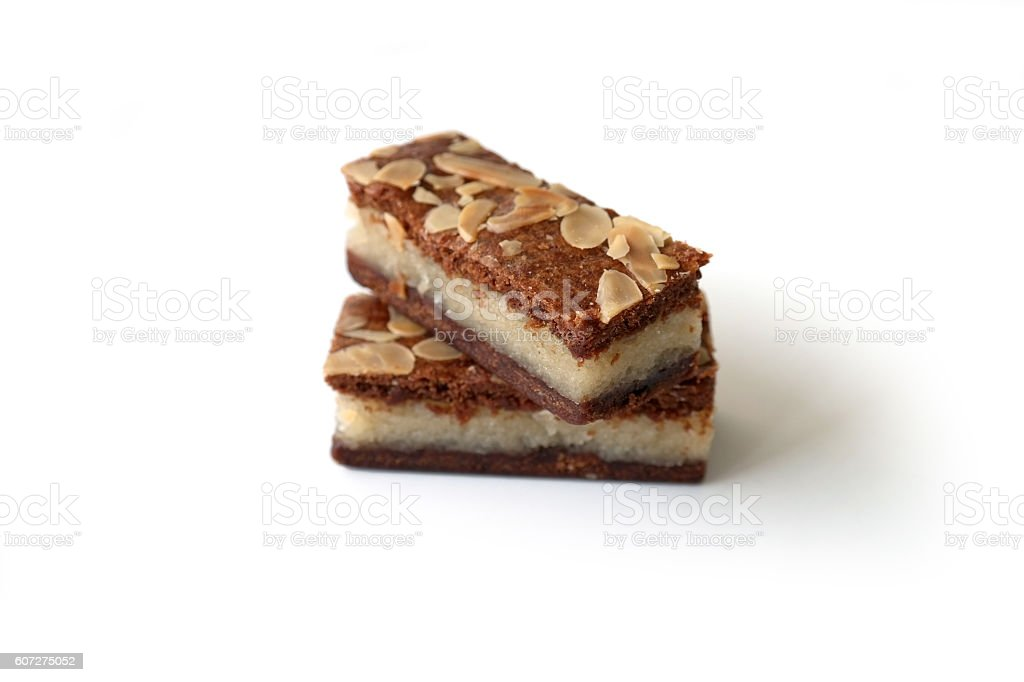 Gevulde speculaas (brown spiced biscuit) on white stock photo
