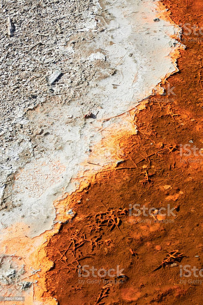 Geyser Runoff Abstract, Yellowstone National Park, Wyoming stock photo