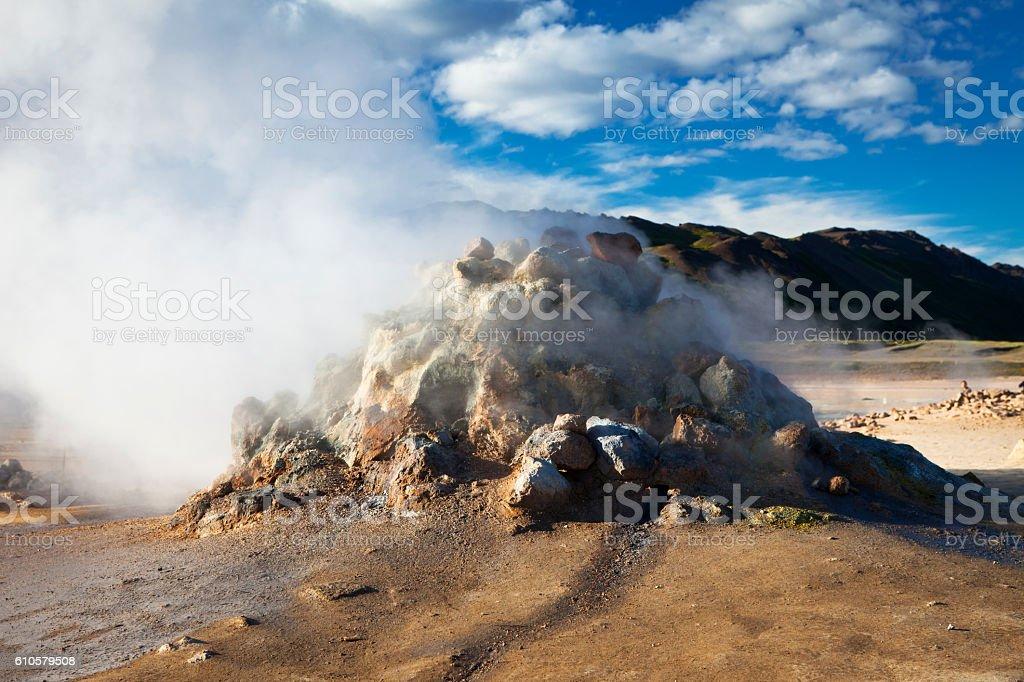 Geyser steam in Hverir, Iceland stock photo