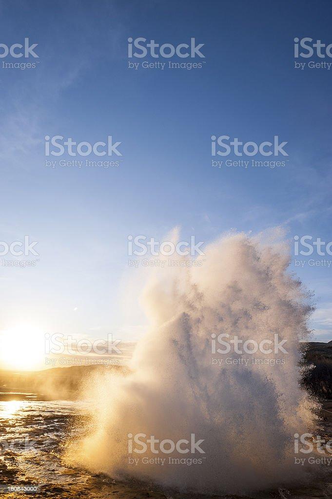 Geyser Strokkur, Iceland erupting hot water & steam spraying high royalty-free stock photo
