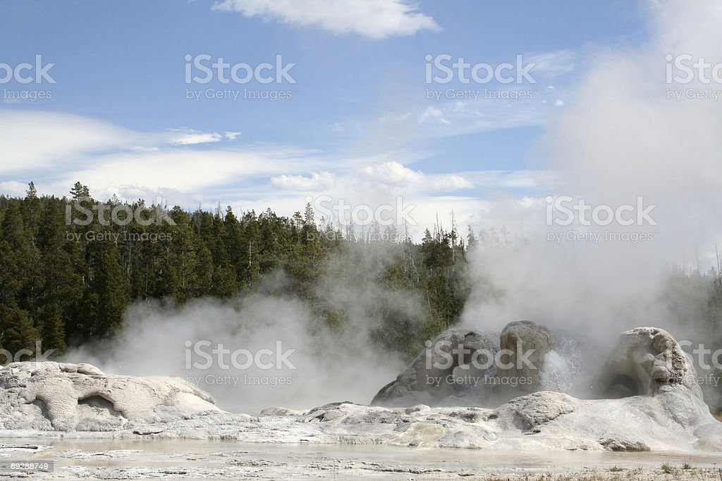 Geysers erupting in Yellowstone National Park royalty-free stock photo