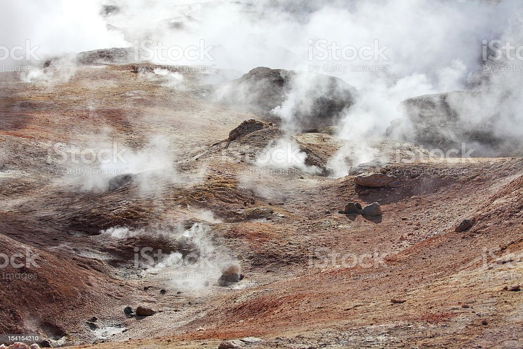 Geysers Sol de Manana, Bolivia royalty-free stock photo